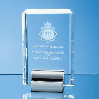 15cm Optical Crystal Rectangle mounted on a Chrome Stand