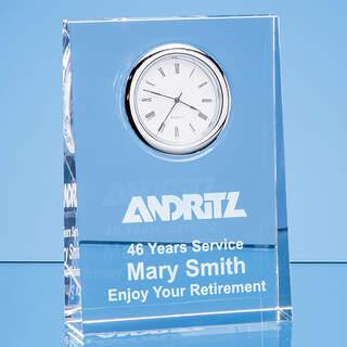 12cm Optical Crystal Tapered Rectangle Clock