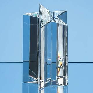 13.5cm Optical Crystal 5 Pointed Star Column Award