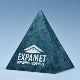 10cm Green Marble 4 Sided Pyramid Award