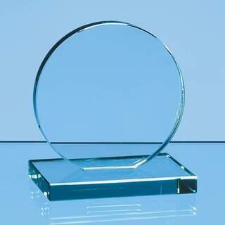 10cm x 12mm Jade Glass Circle Award