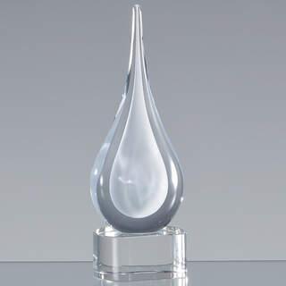 18cm Handmade Crystal White Teardrop Award