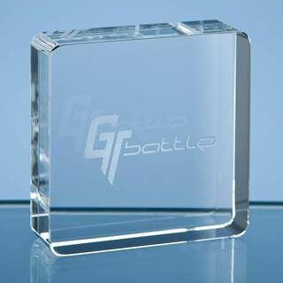 6cm Optical Crystal Square Paperweight