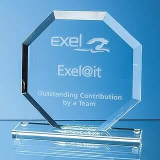 10cm x 10cm x 12mm Jade Glass Bevelled Edge Octagon Award