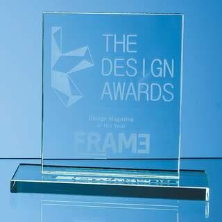 12cm x 9cm x 12mm Jade Glass Rectangle Award