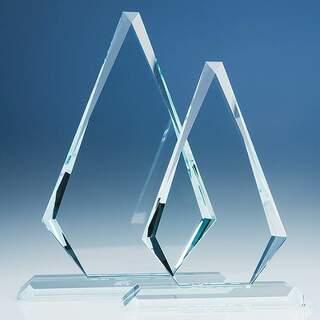 26.5cm x 17cm x 19mm Clear Glass Windsor Diamond Award