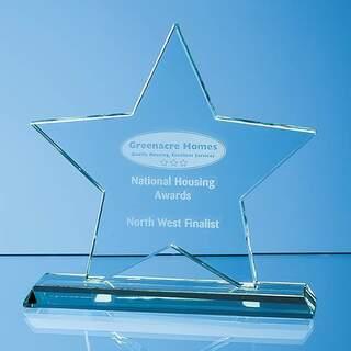 15cm x 15cm x 12mm Mounted Jade Glass Star Award