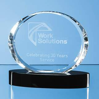 12cm Optical Crystal Oval Award mounted on an Onyx Black Base