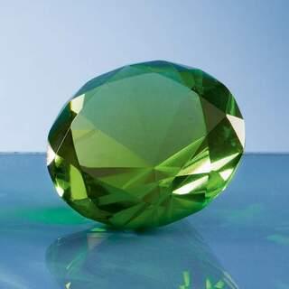 6cm Optical Crystal Green Diamond Paperweight